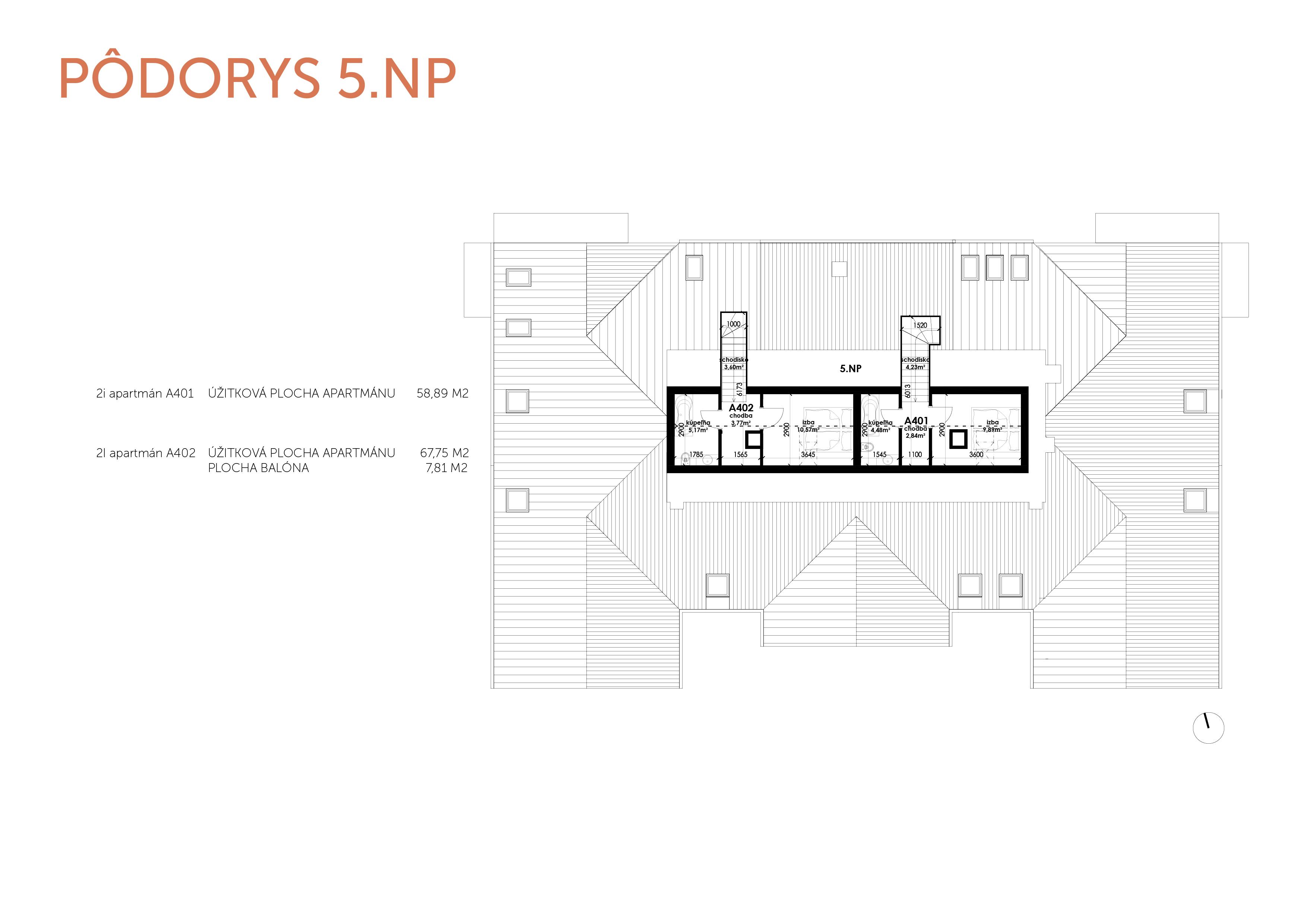 Predané: NOVOSTAVBA Apartmán 2 IZBOVÝ, na dvoch podlažiach, M-HOUSE, MALACKY CENTRUM, 58,89M2-7