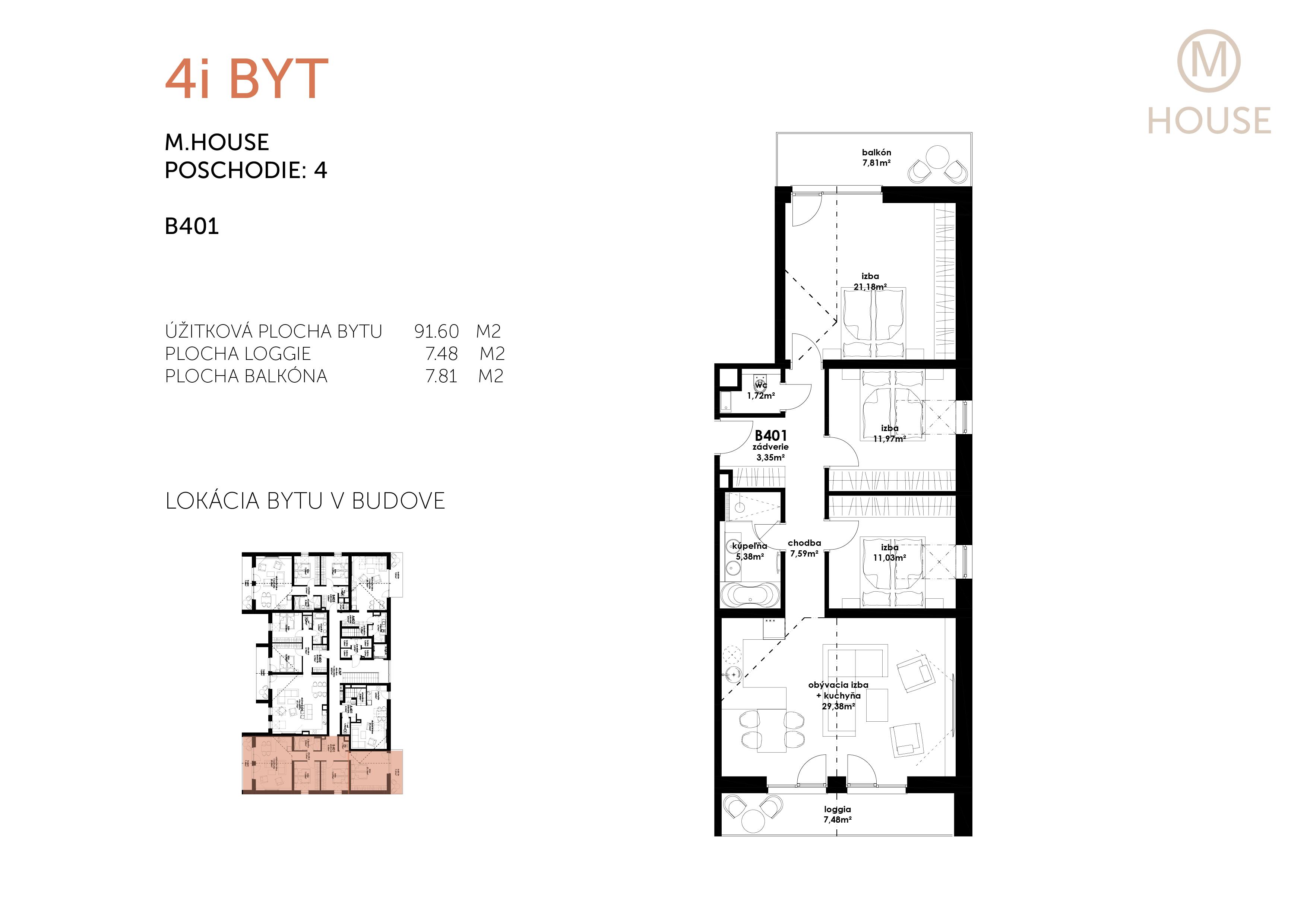 Predané: Novostavba 4 Izbový, M-House, Malacky centrum, 91,60m2, Loggia 15,29m2-5