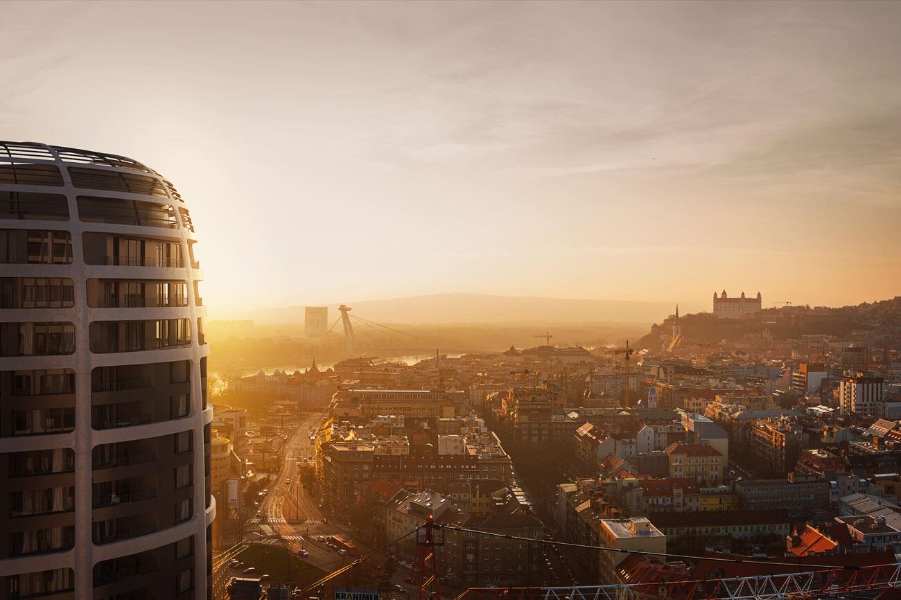 Predané: 2 izbový byt v Sky parku, III Veža,  17 poschodie, úžitková 50,51m2, Loggia 4,99m2,parkovacie miesto-23