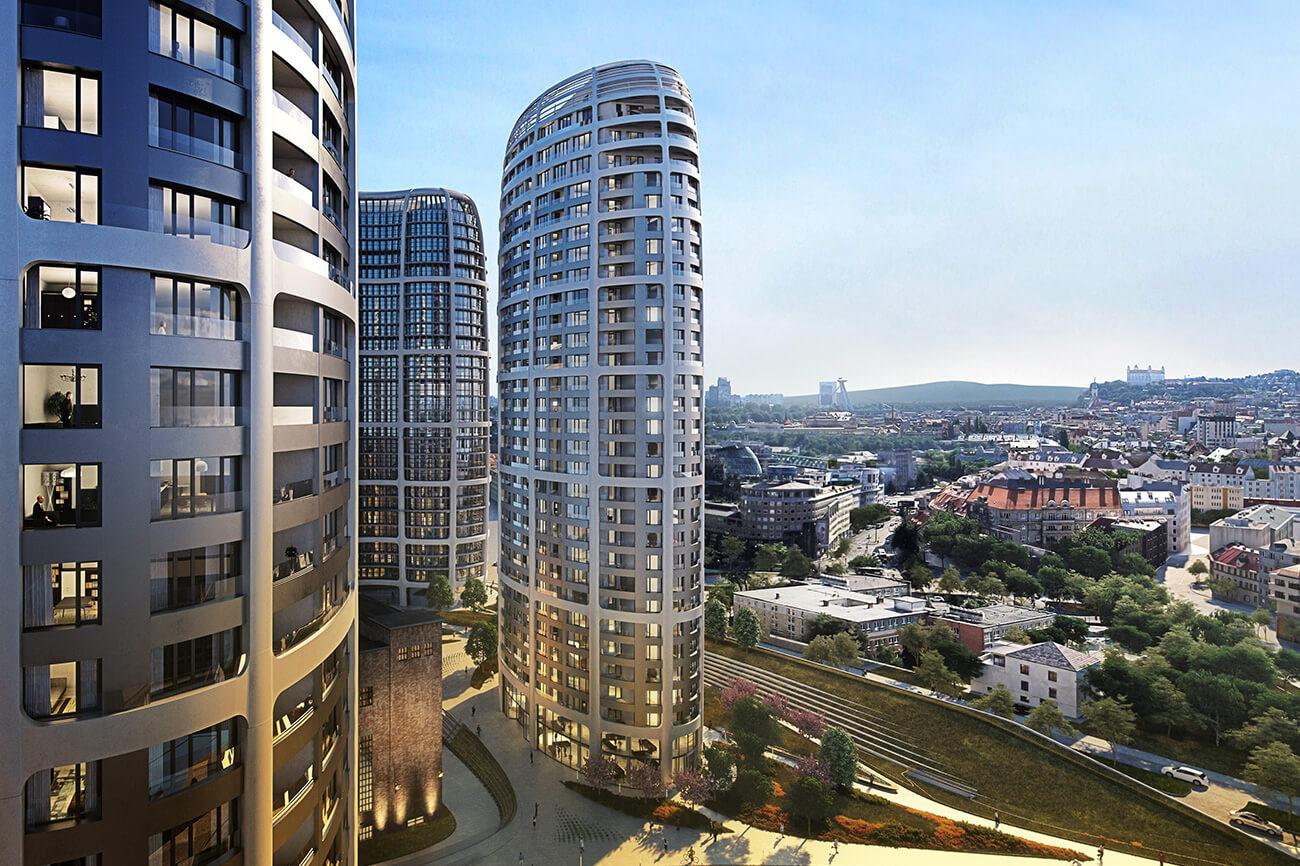 Predané: 2 izbový byt v Sky parku, III Veža,  17 poschodie, úžitková 50,51m2, Loggia 4,99m2,parkovacie miesto-29