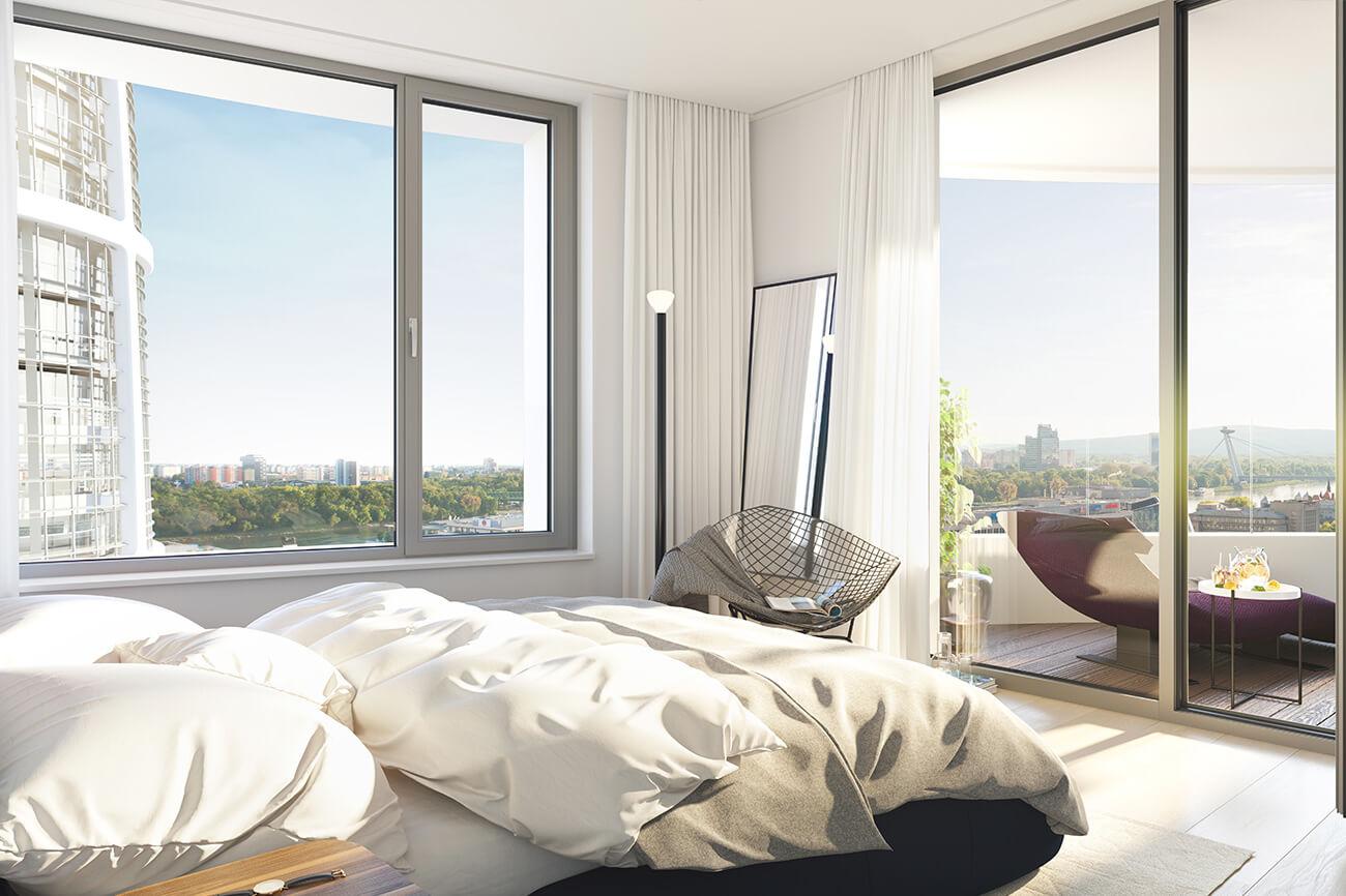 Predané: 2 izbový byt v Sky parku, III Veža,  17 poschodie, úžitková 50,51m2, Loggia 4,99m2,parkovacie miesto-15