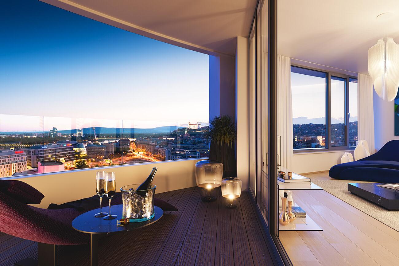 Predané: 2 izbový byt v Sky parku, III Veža,  17 poschodie, úžitková 50,51m2, Loggia 4,99m2,parkovacie miesto-14