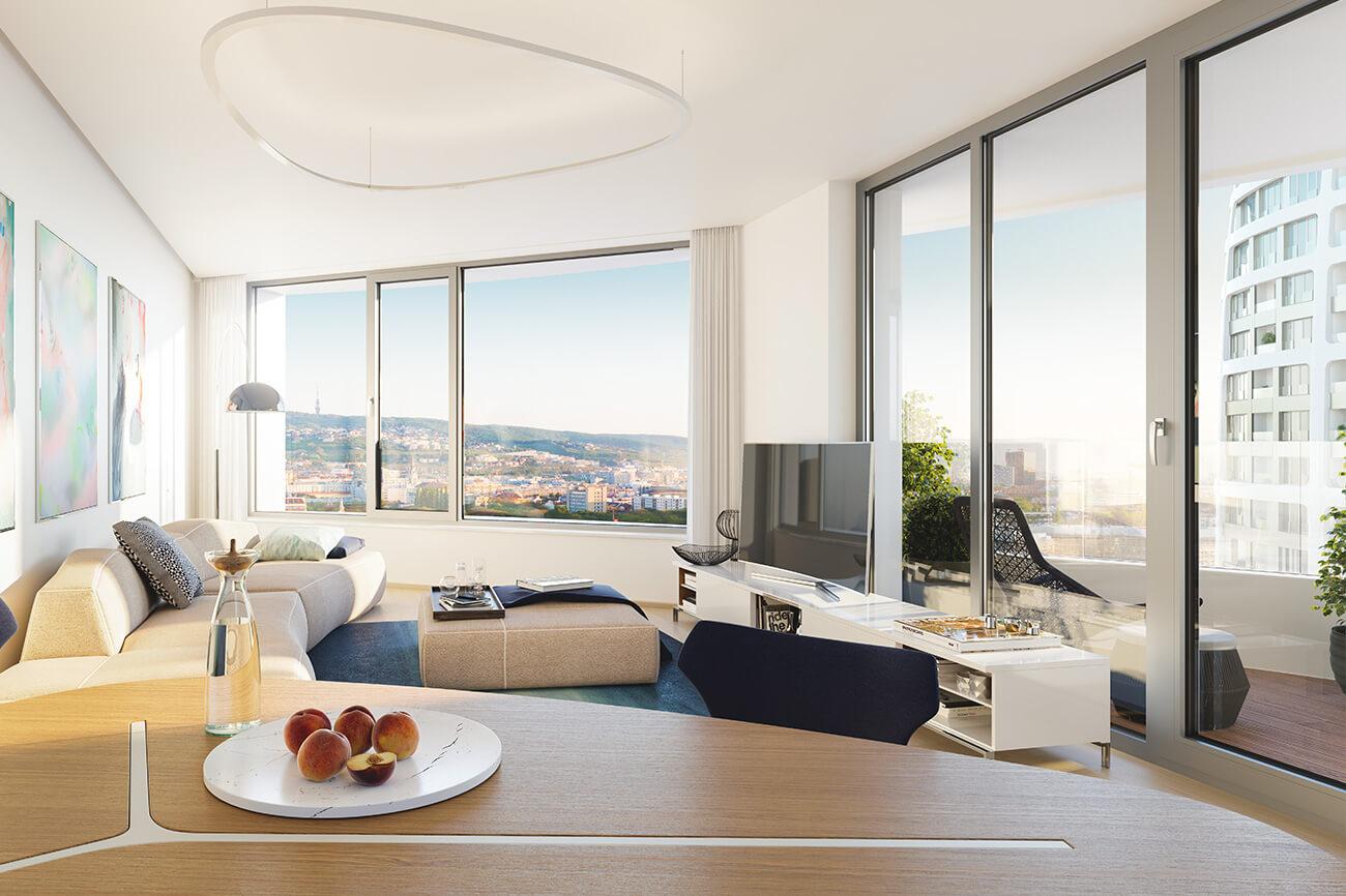 Predané: 2 izbový byt v Sky parku, III Veža,  17 poschodie, úžitková 50,51m2, Loggia 4,99m2,parkovacie miesto-12