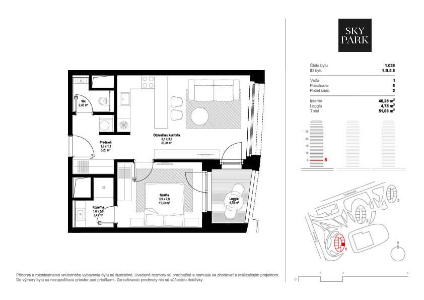 Predané: 2 izbový byt v Sky parku, I Veža, 6 nadzemné podlažie, úžitková 46,28 m2 ,Loggia 4,75m2, parkovanie-17