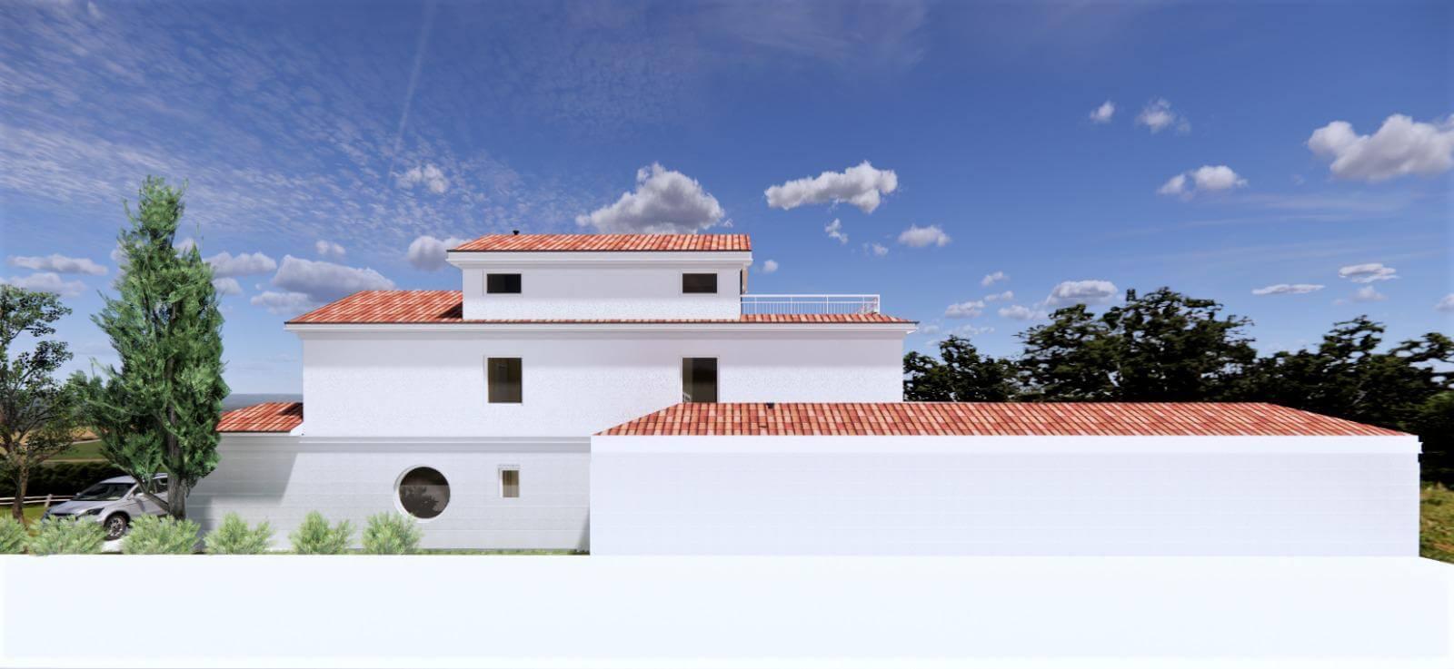 Veľký rozostavaný rodinný dom, 3NP spolu 355,13m2,pozemok 650m2,Novalja, na ostrove Pag, Chorvátsko-9